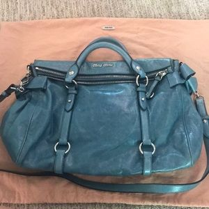 Miumiu  Lux Rare Turquoise Leather Cross Body Bag